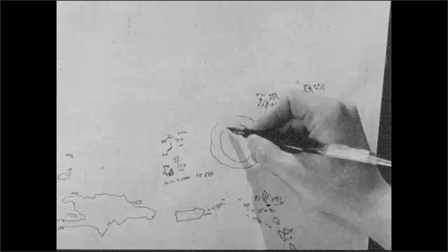 1950s: Woman sitting in backyard. Man at desk inks in hurricane coordinates. Animation of hurricane spinning off the coast of Puerto Rico.
