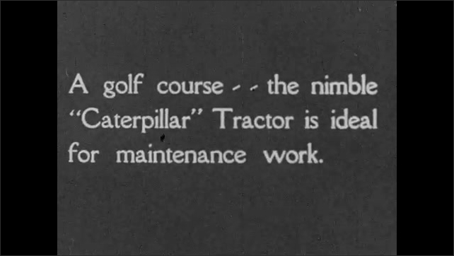 1920s: A small tractor pulls a propeller plane past an airport hangar. A tractor pulls a lawnmower, cutting the grass on a golf course.