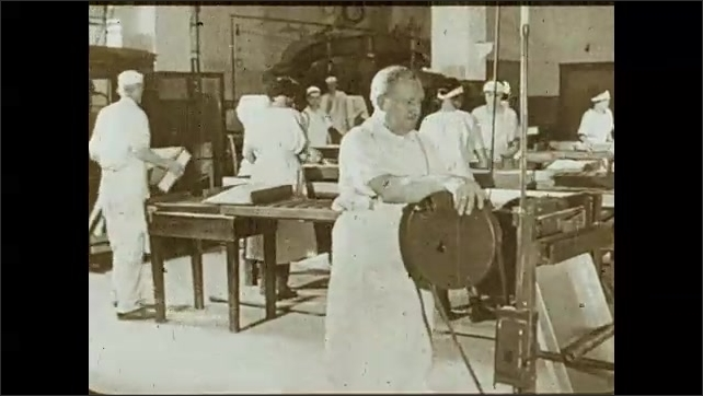 1930s: Men operate machine in a cannery, a man stacks cans, the other packs them. Man stacks packages with cans. Women work in an assembly line, man operates machine. Man stacks boxes inside closet.
