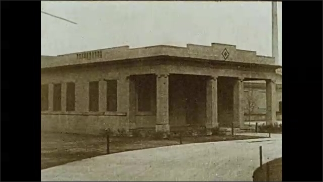 1930s: Garden with buildings around, clothes hang on a rope, people garden. Two men enter building with columns. Man prepares medicine in a doctor's office.
