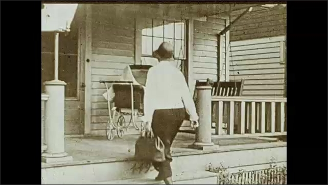 1930s: Doctor's office with bed and closets. Women leave building and walk down the stairs. Woman stands at porch with a baby cart, knocks on the door, a woman comes out and holds baby in her arms.