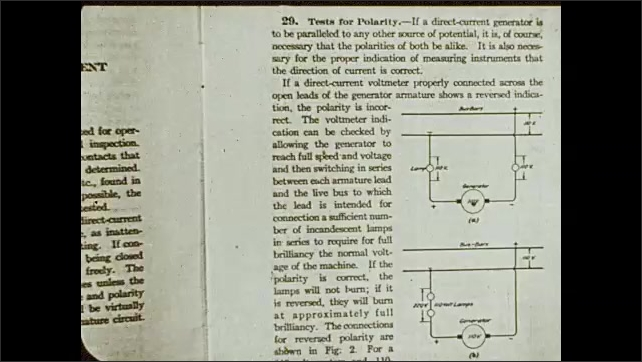 1930s: Intertitle. Man sits at a desk and studies. Page of open book with electrical schemes. Man sits at desk and thinks with hand on his chin, he looks around the papers and starts to write.