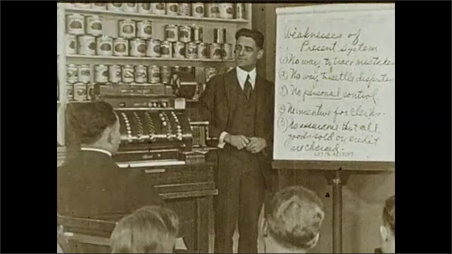 1930s: Students sit and look at professor who writes on a board. Professor stands next to machine and board with a list with title ????eaknesses of Present System???? he talks to students. Intertitle.