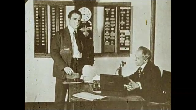 """1930s: Man shakes head, talks to man who sits at desk in an office. Intertitle. Man talks to boss. Drawing of door on wall with text """"Opportunity"""" and the sun rise underneath, text appears."""