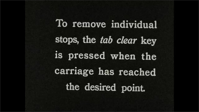1930s: Typewriter????s carriage moves. Fingers press two keys at the same time. Carriage moves. Intertitle. Carriage moves. Finger presses ????AB CLEAR????key. Carriage moves to the right.