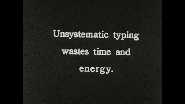 1930s: Woman types on a typewriter, moves carriage and continues to type. Intertitle ????nsystematic typing wastes time and energy???? Woman types on a typewriter.
