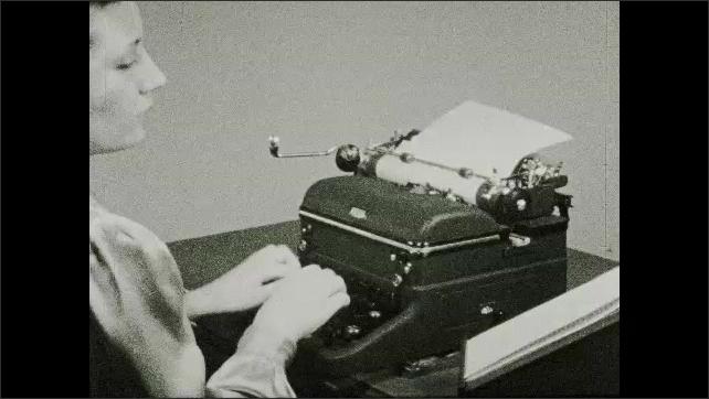 1930s: Intertitle. Typewriter????s black keys. Intertitle. Woman types on a typewriter. Face of woman. Page with text. Hands type on a typewriter. Typewriter types.
