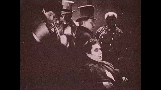 1930s: Lincoln and woman talk at table. Abraham Lincoln eats food from plate while woman speaks. Lincoln leans back in chair and thinks. Lincoln checks watch and stands from chair. Title card.