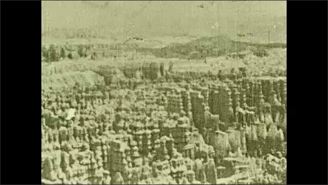 1930s: Intertitle ????n Bryce Canyon, we view with awe a perfect example of erosion. ????ike rows of chessmen, turned on the lathe of time???????? Hoodoos of Bryce Canyon National Park.