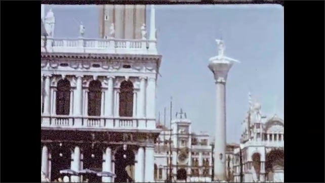 1950s:  Gondolas on water in Venice, Italy. View of buildings in Venice. River in Paris. Shops on street in Paris. Dog in street