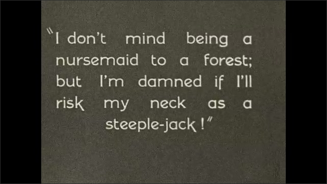 1930s: Young man stands and brushes hands on pants. Text on screen. Ranger approaches young man and yells. Forest ranger speaks angrily and points.