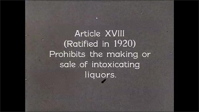 """1930s: The Judicial Branch text appears. Intertitle """"and illustrates the important amendments, such as Article XVIII (ratified in 1920) Prohibits the making or sale of intoxicating liquors""""."""
