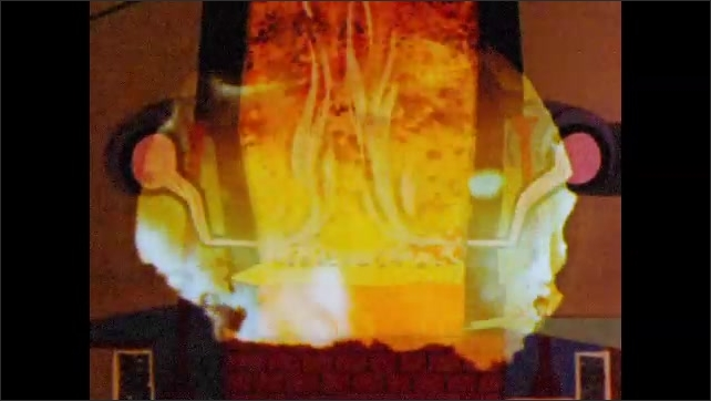 1960s: Man with hat walks up to machinery and looks into it. Close view of orange glowing substance. Animated cartoon depicts a fire within an industrial furnace.