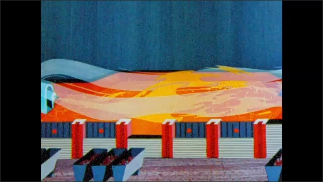 1960s: Animated cartoon shows short structure with fire and vapors inside and filled carts on tracks outside.  Close up view of orange liquid boiling.