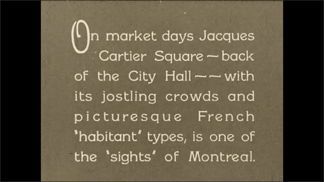 1930s: CANADA: Market in Jacques Cartier Square. Iconic sights of Montreal. Parked cars near market.