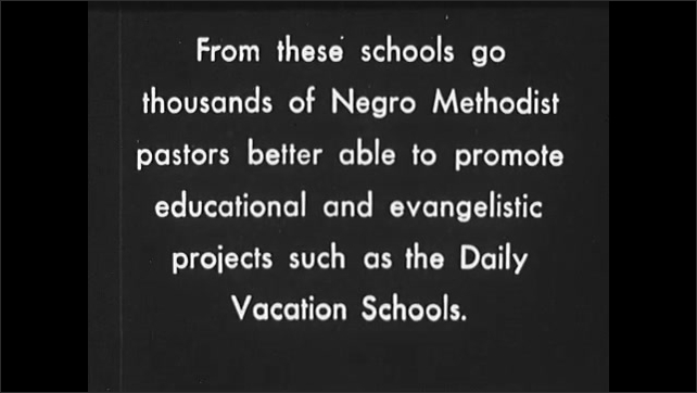 1930s: UNITED STATES: man leads prayer. Children walk down steps. Children attend camp