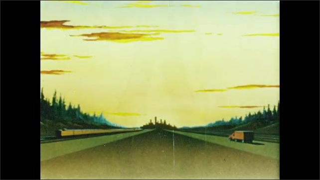 1950s: Drawings. Pacific coast, curved bay, mountains. Paul Bunyan stands proudly with axe, sunset, forest, road. Road through dense evergreen forest.