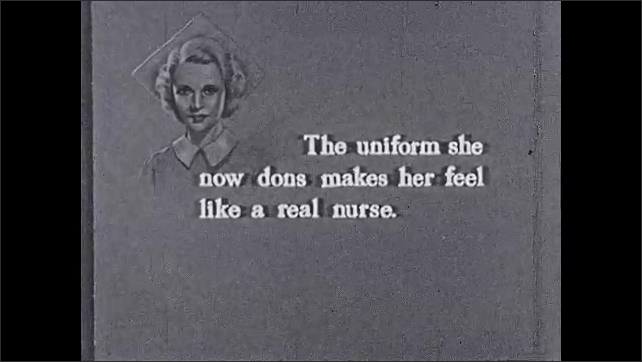 """1930s: Building.  Text reads """"The uniform she now dons makes her feel like a real nurse.""""  Women walk in and out of hospital."""