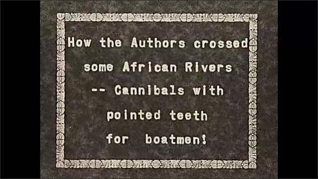 1930s: AFRICA: men build hut from wood. Crossing of African rivers. Cannibals in Africa. Boatmen cross river.