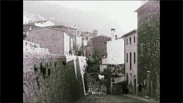"""1930s: Mountain town.  Caption reads """"Novel method of insuring against adulteration of pure food- 'Direct from producer to consumer.'"""""""