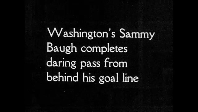 1930s: Football players stand in position, the match starts, they run, push and fall on each other. Audience. Intertitle. A football player throws the ball, the players run after it and fall.