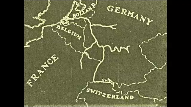 1920s: High angle view of river. Map of Europe, animated river runs through map. Tracking shot from river, view of shoreline. Boat on river.