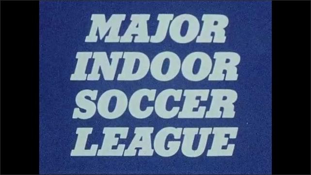 1970s: UNITED STATES: major indoor soccer league title. Soccer leaflet. Sponsorship logos on soccer pamphlet. Names of soccer teams and logos