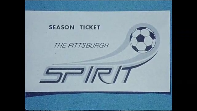 1970s: UNITED STATES: season tickets for soccer. Goalkeeper rolls in net. Goal keeper throws ball out on pitch. American footballers play on field.