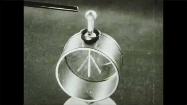 1930s: UNITED STATES: papers move inside electroscope. Animation of electroscope.