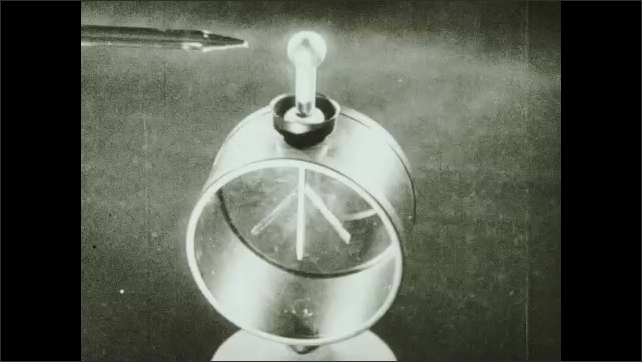1930s: UNITED STATES: positively charged electroscope. Papers lift up.