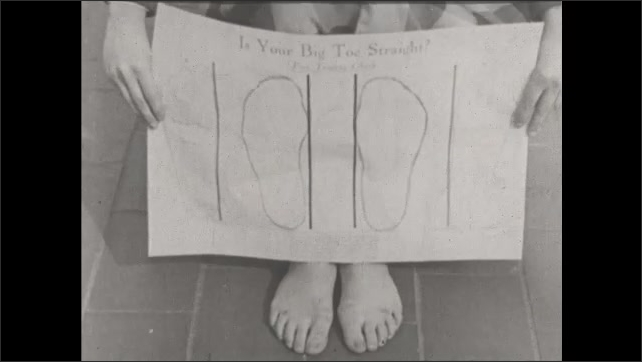 1930s: UNITED STATES: soles of feet. Big toe. Drawing of feet