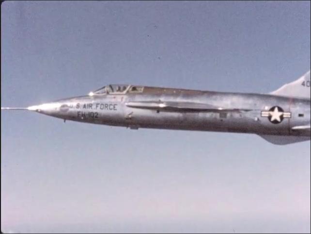 1970s: U.S. Air Force FH-102 aircraft flies sideways.