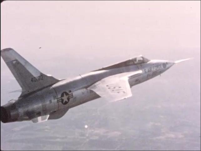 1970s: Aircraft flies upward at high speed through the sky.