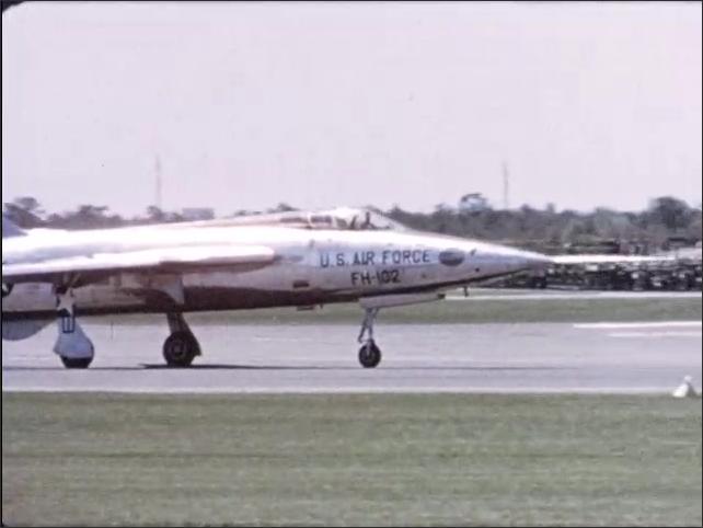 1970s: U.S. Air Force FH-102 aircraft drives down runway.