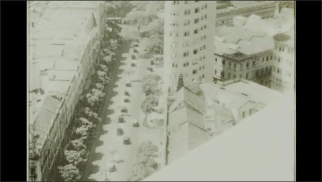 Rio de Janeiro 1930s: Completion of the Avenida Rio Branco. Overhead view of street and city buildings.