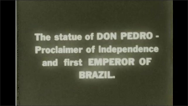 Rio de Janeiro 1930s: English paving stones in Rio. Don Pedro statue. Man on horse statue. First Emperor of Brazil. Proclaimer of Independence.