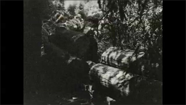 1930s: Train starts down tracks.  Train carrying logs moves through forest.