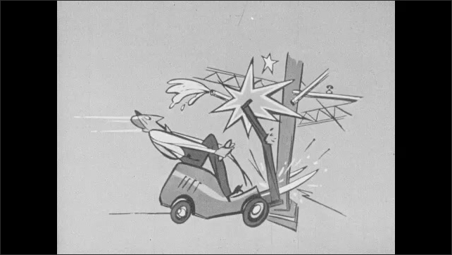 1960s: UNITED STATES: animation of truck crash. Ladies in car cartoon. Cartoons of crashes. Grave of forklift truck driver.