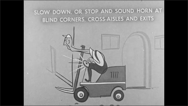 1960s: UNITED STATES: Slow down, or stop and sound horn on blind corners, cross aisles, and exits. Cartoon of fork driver. Fork truck on wet and slippery floor. Man walks towards fork truck