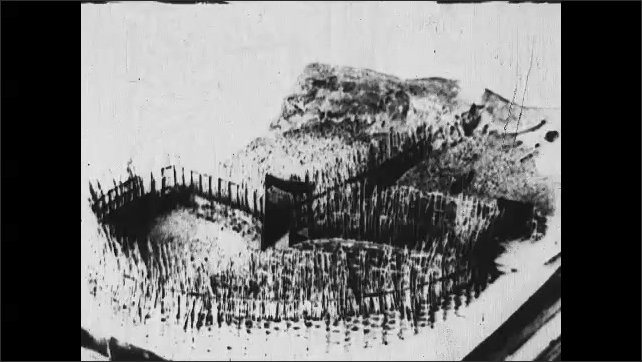 1930s: CANADA: model of a sardine weir. Weir made from brushwood. Bay of Fundy weirs.