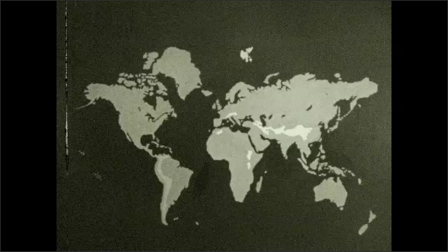 1930s: UNITED STATES: map of world and mountain ranges.
