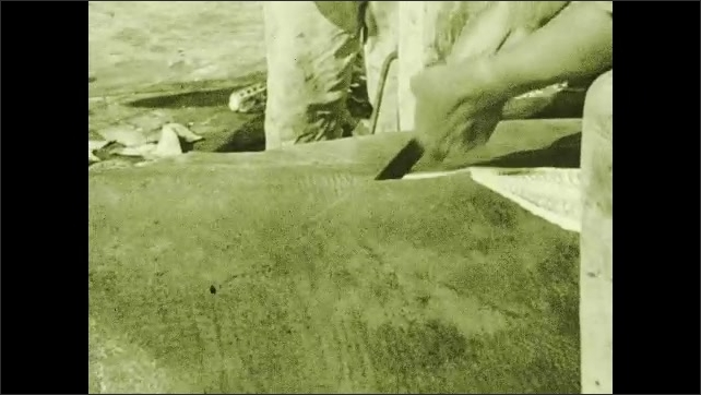 1930s: Man picks up and inspects shark fins. Removing the skin. Men slice through shark's skin with knives.