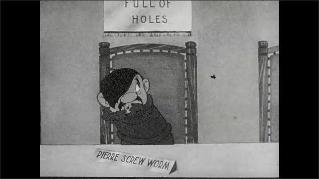 """1940s: Animation of insect that nods its head, touches table with its fingers, gets scared, talks and gesticulates, text """"Pierre Screw Worm"""" lays on the table."""