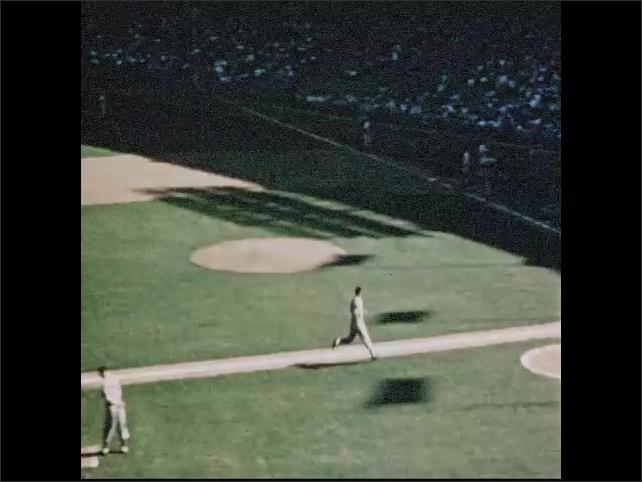 1950s: Baseball players play baseball game. Football players play football game.