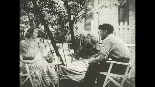 1930s: UNITED STATES: close up of boy's face. Girl and boy sit in garden. Girl visits injured lady in garden.