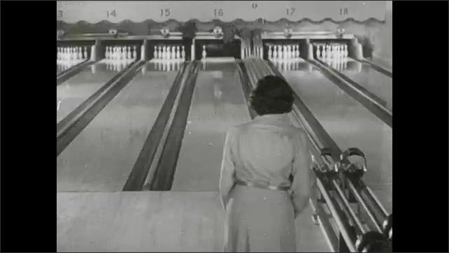 1930s: Bowling pin. Woman bowls, picks up spare.