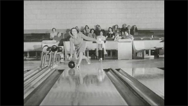 1930s: Bowling pins. Woman bowls, picks up spares. Woman prepares to bowl.