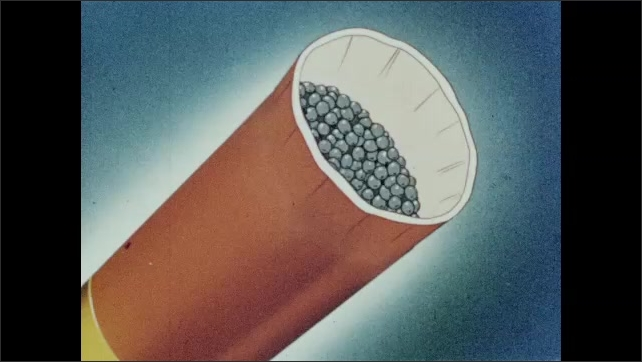 1950s: UNITED STATES: lead pellets on conveyor belt. Round pellets for gun. Animation of cartridge and shell.