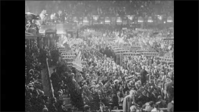 1950s: UNITED STATES: 1940 National Political Convention televised for first time. People at political conference.