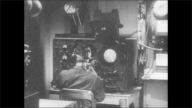 1950s: UNITED STATES: RCA centre. Use of radar for television and war. Sonar detection in the field. Soldier sets up gun